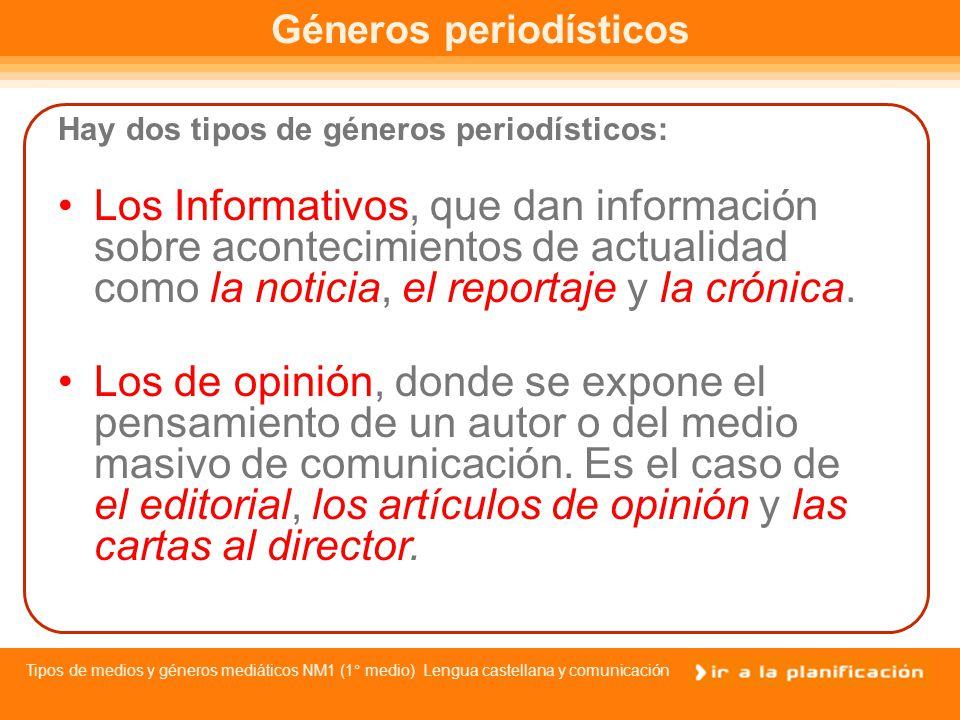 Tipos de medios y géneros mediáticos NM1 (1° medio) Lengua castellana y comunicación Objetivos del mensaje mediático La prensa pone todos sus medios al servicio de tres objetivos: Influir : Es la capacidad que el periodismo tiene de crear un estado de opinión.