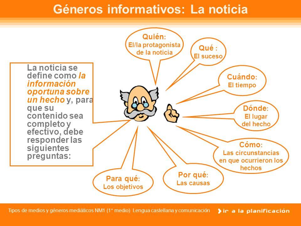 Tipos de medios y géneros mediáticos NM1 (1° medio) Lengua castellana y comunicación Géneros periodísticos Los Informativos, que dan información sobre acontecimientos de actualidad como la noticia, el reportaje y la crónica.