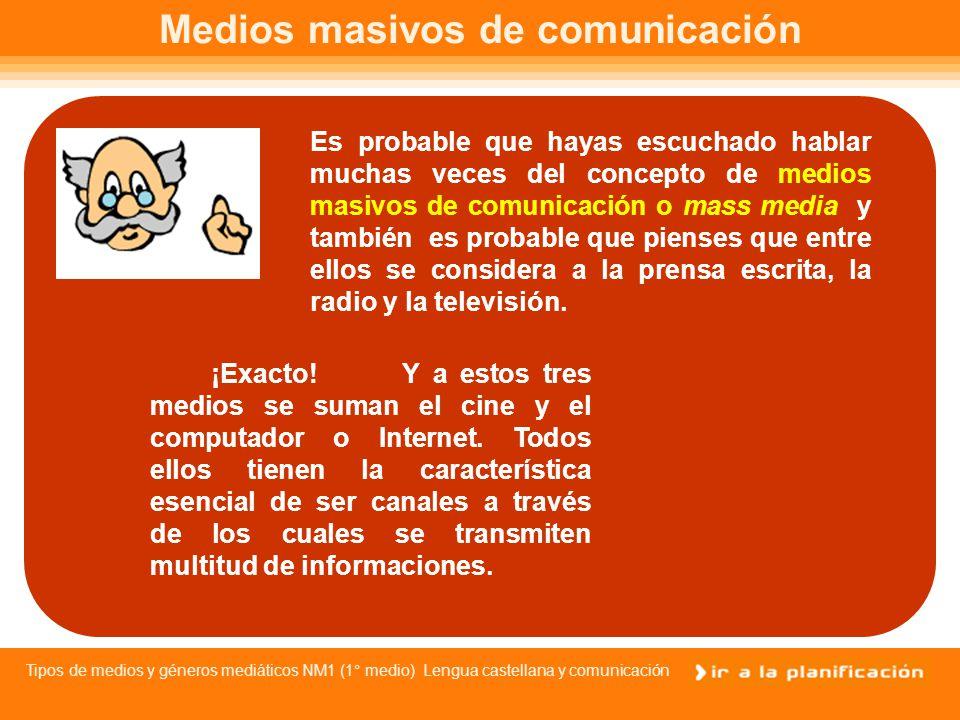 Tipos de medios y géneros mediáticos NM1 (1° medio) Lengua castellana y comunicación ÍNDICE Medios masivos de comunicación1 y 2 Medios masivos de comunicación1y2 ¿Cómo son los medios.