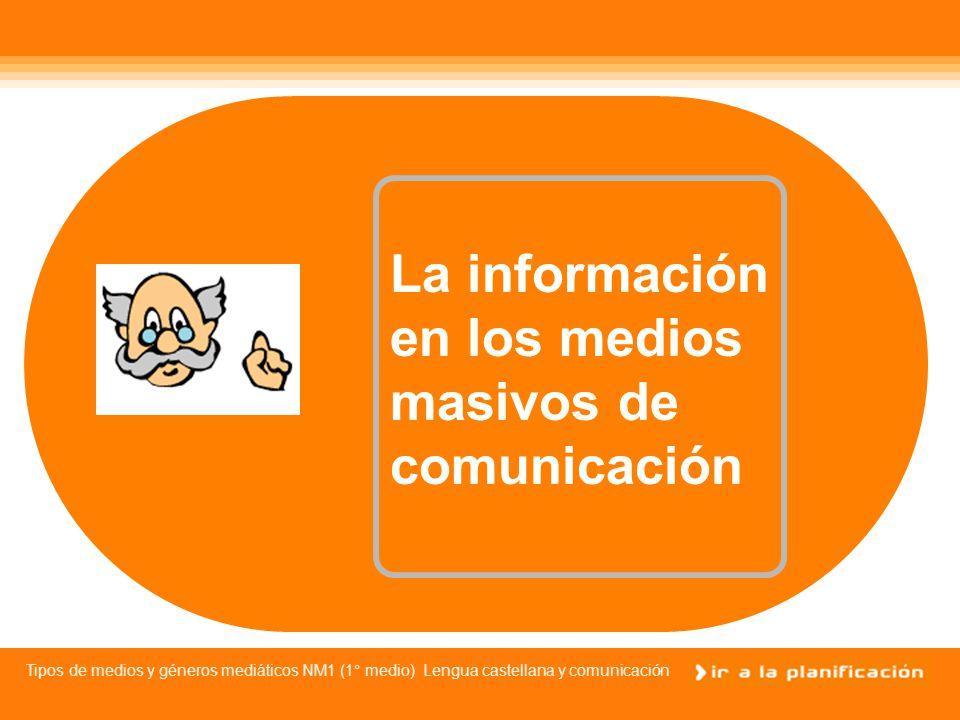 Tipos de medios y géneros mediáticos NM1 (1° medio) Lengua castellana y comunicación Tipos de medios masivos de comunicación Recordemos los mass media por excelencia: Televisión Radio Prensa escrita Cine