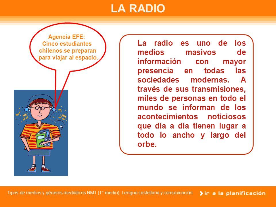 Tipos de medios y géneros mediáticos NM1 (1° medio) Lengua castellana y comunicación La información en los medios masivos de comunicación