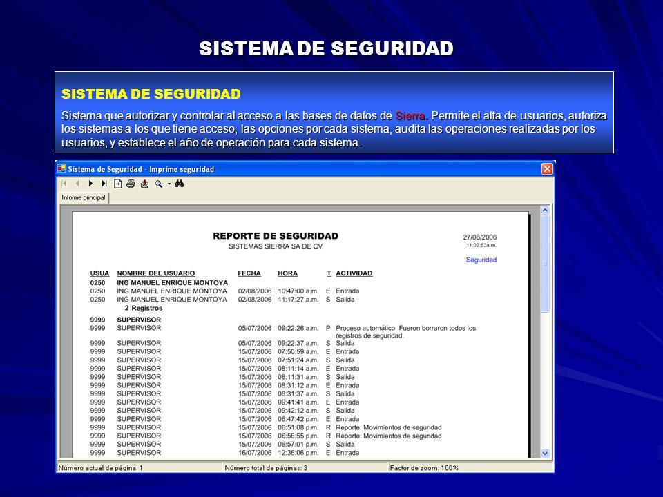 SISTEMA DE SEGURIDAD Sistema que autorizar y controlar al acceso a las bases de datos de Sierra.