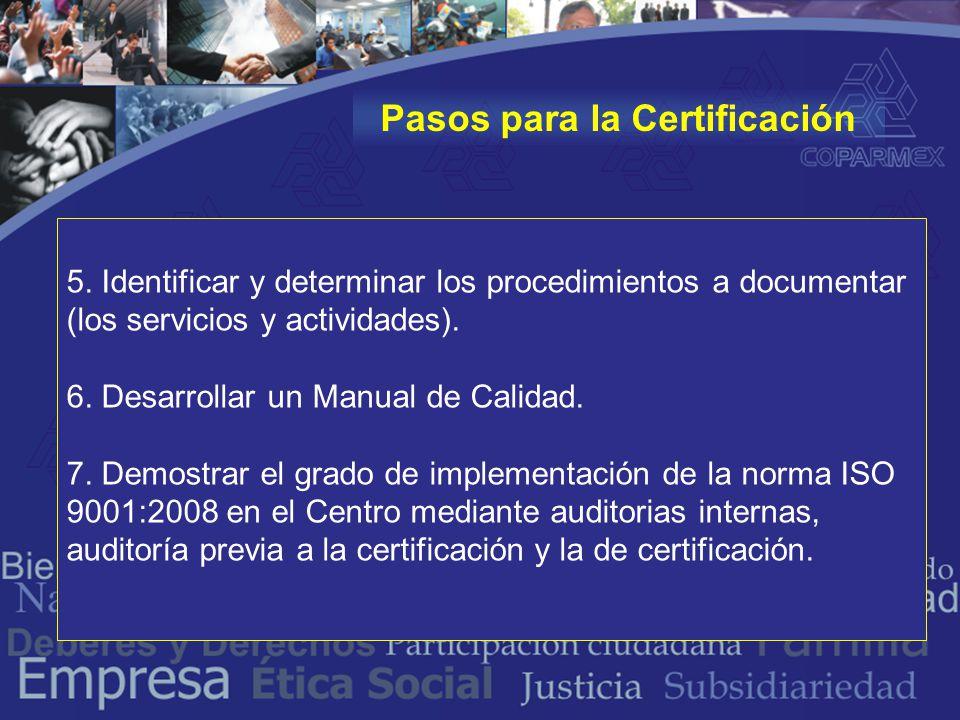 5. Identificar y determinar los procedimientos a documentar (los servicios y actividades).