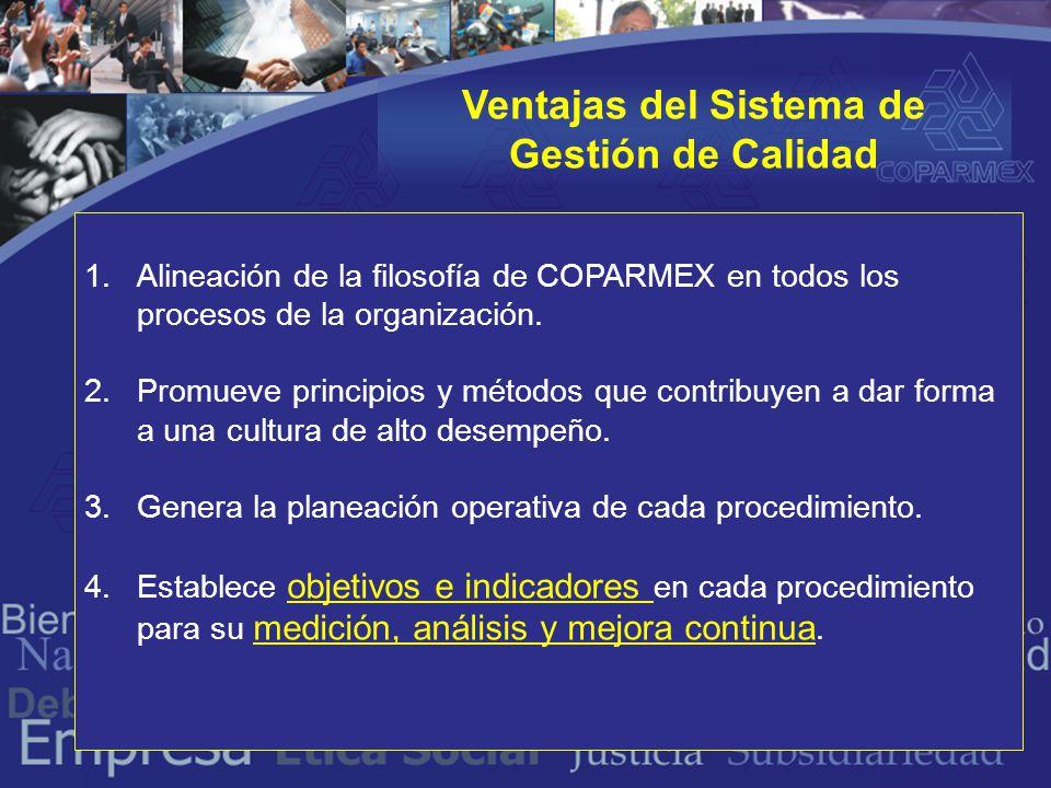 Ventajas del Sistema de Gestión de Calidad 1.Alineación de la filosofía de COPARMEX en todos los procesos de la organización.
