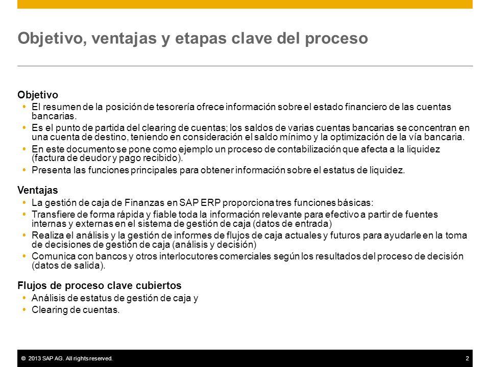Gestión de caja SAP Best Practices. ©2013 SAP AG. All rights ...