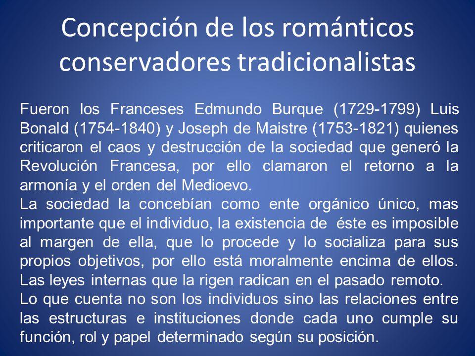 Concepción de los románticos conservadores tradicionalistas Fueron los Franceses Edmundo Burque (1729-1799) Luis Bonald (1754-1840) y Joseph de Maistre (1753-1821) quienes criticaron el caos y destrucción de la sociedad que generó la Revolución Francesa, por ello clamaron el retorno a la armonía y el orden del Medioevo.