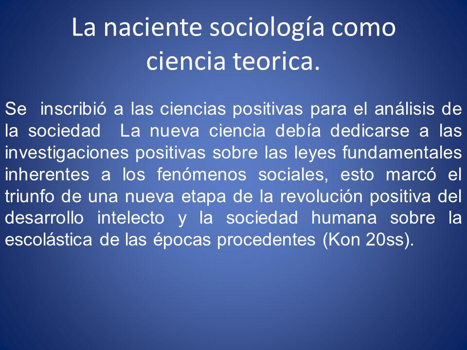 La naciente sociología como ciencia teorica.