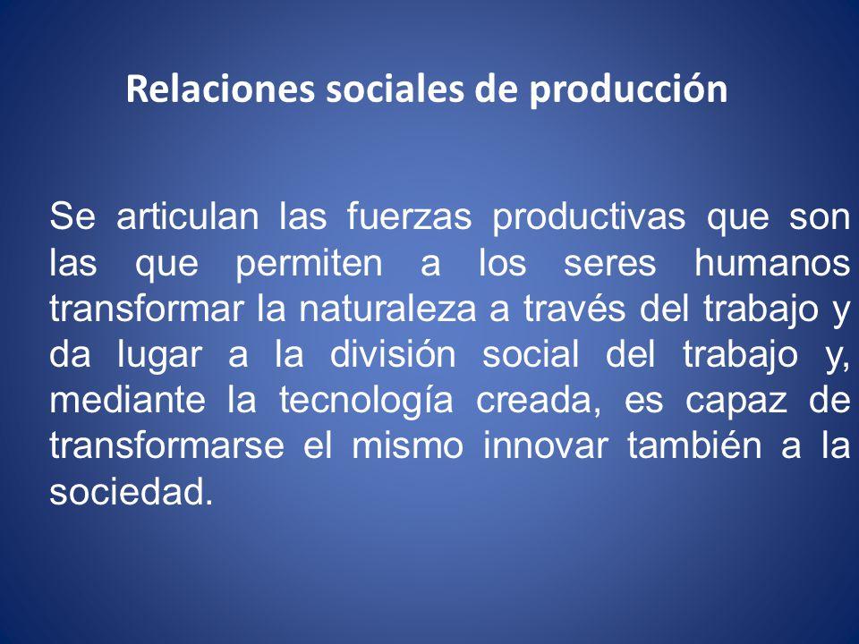 Relaciones sociales de producción Se articulan las fuerzas productivas que son las que permiten a los seres humanos transformar la naturaleza a través del trabajo y da lugar a la división social del trabajo y, mediante la tecnología creada, es capaz de transformarse el mismo innovar también a la sociedad.
