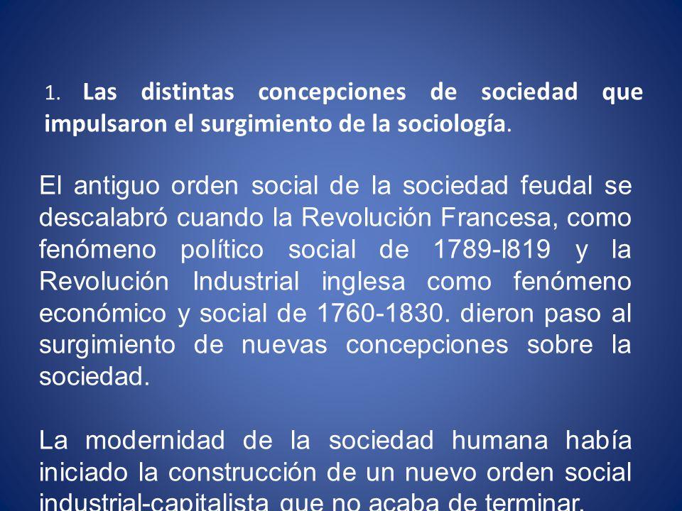 1.Las distintas concepciones de sociedad que impulsaron el surgimiento de la sociología.
