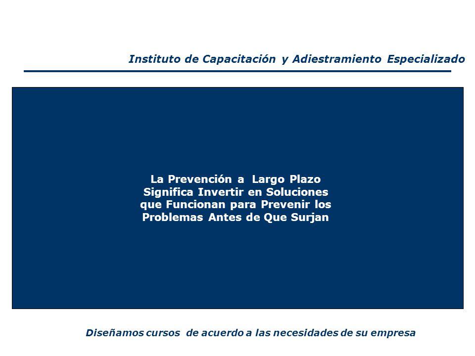 CEDEHC La Prevención a Largo Plazo Significa Invertir en Soluciones que Funcionan para Prevenir los Problemas Antes de Que Surjan Diseñamos cursos de acuerdo a las necesidades de su empresa Instituto de Capacitación y Adiestramiento Especializado