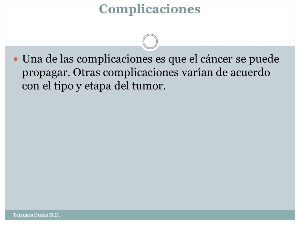 Complicaciones Una de las complicaciones es que el cáncer se puede propagar.