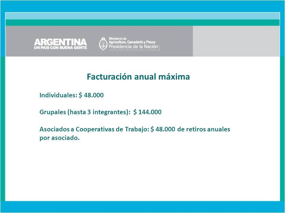 Facturación anual máxima Individuales: $ 48.000 Grupales (hasta 3 integrantes): $ 144.000 Asociados a Cooperativas de Trabajo: $ 48.000 de retiros anuales por asociado.