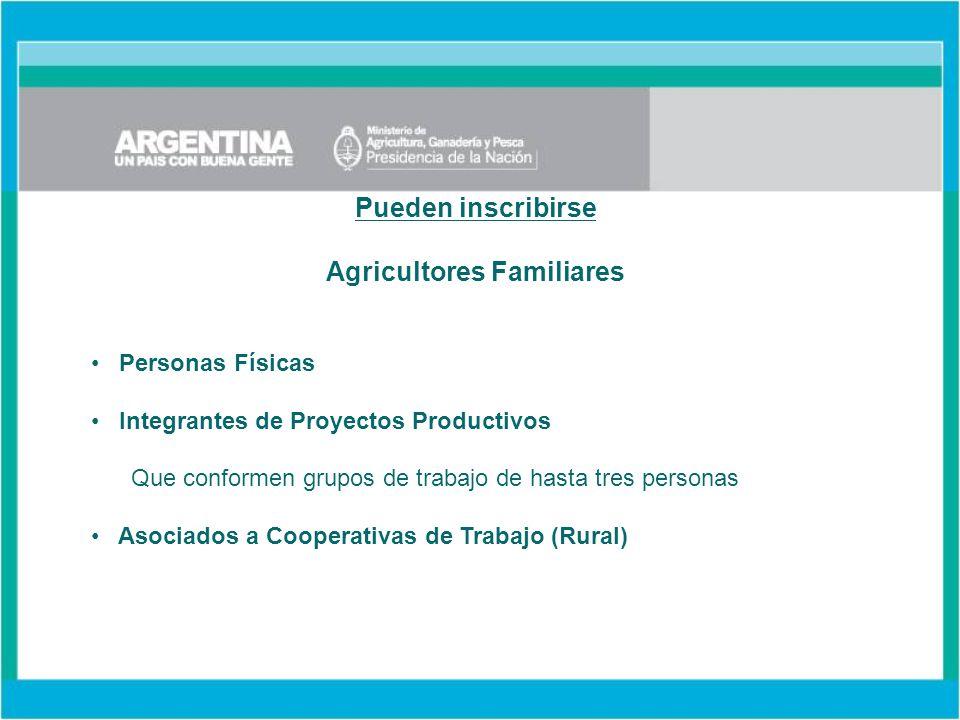 Pueden inscribirse Agricultores Familiares Personas Físicas Integrantes de Proyectos Productivos Que conformen grupos de trabajo de hasta tres personas Asociados a Cooperativas de Trabajo (Rural)