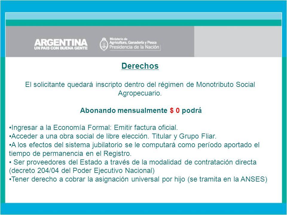 Derechos El solicitante quedará inscripto dentro del régimen de Monotributo Social Agropecuario.