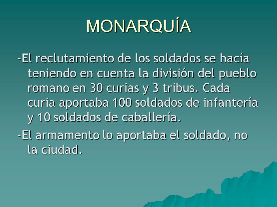 MONARQUÍA -El reclutamiento de los soldados se hacía teniendo en cuenta la división del pueblo romano en 30 curias y 3 tribus.