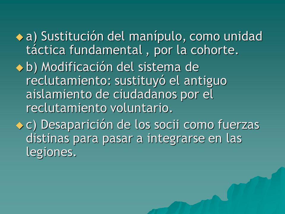  a) Sustitución del manípulo, como unidad táctica fundamental, por la cohorte.