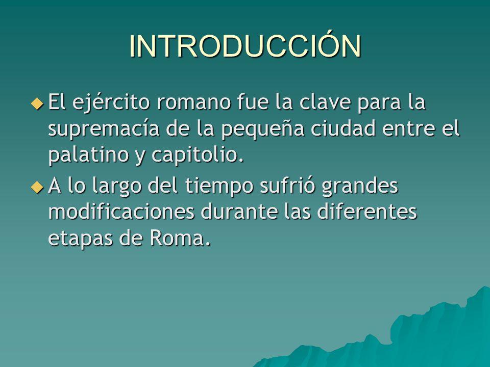 INTRODUCCIÓN  El ejército romano fue la clave para la supremacía de la pequeña ciudad entre el palatino y capitolio.