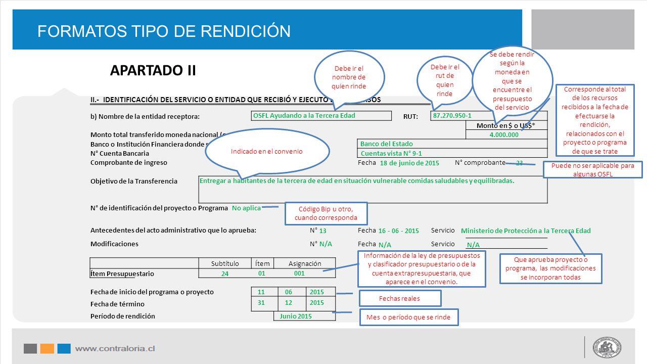 FORMATOS TIPO DE RENDICIÓN II.- IDENTIFICACIÓN DEL SERVICIO O ENTIDAD QUE RECIBIÓ Y EJECUTÓ LOS RECURSOS b) Nombre de la entidad receptora: RUT: Monto