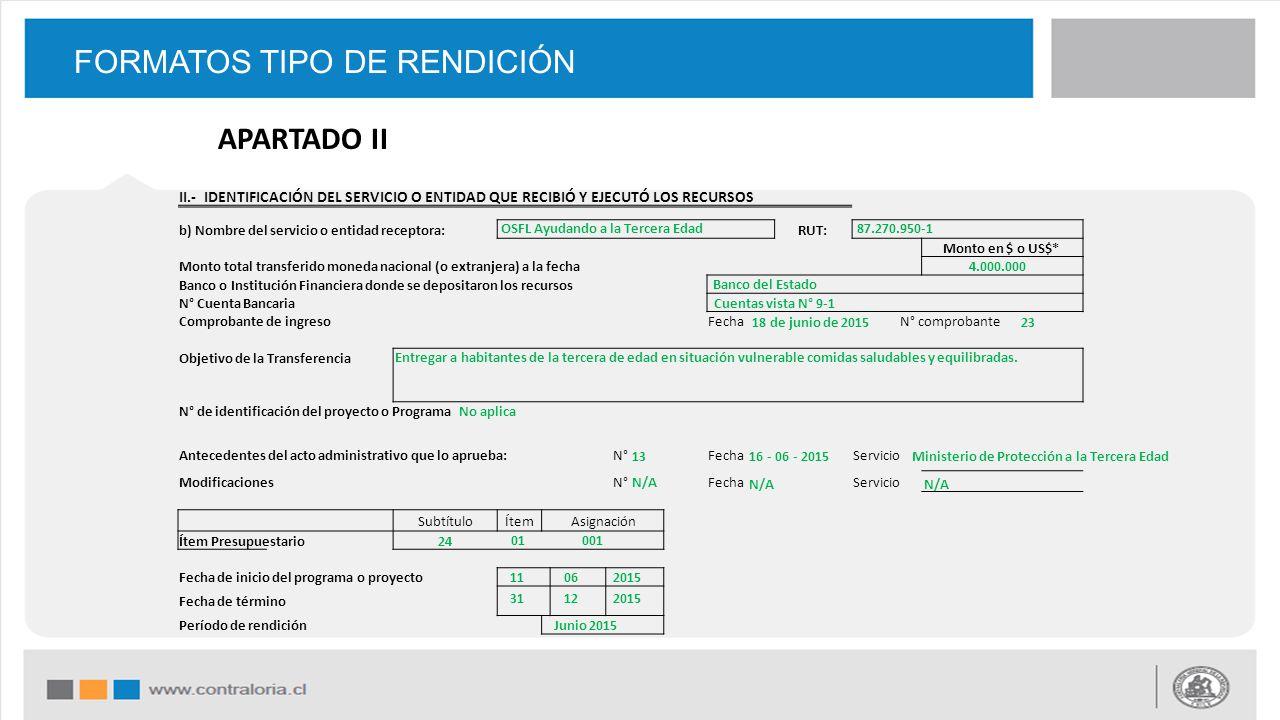 FORMATOS TIPO DE RENDICIÓN II.- IDENTIFICACIÓN DEL SERVICIO O ENTIDAD QUE RECIBIÓ Y EJECUTÓ LOS RECURSOS b) Nombre del servicio o entidad receptora: R