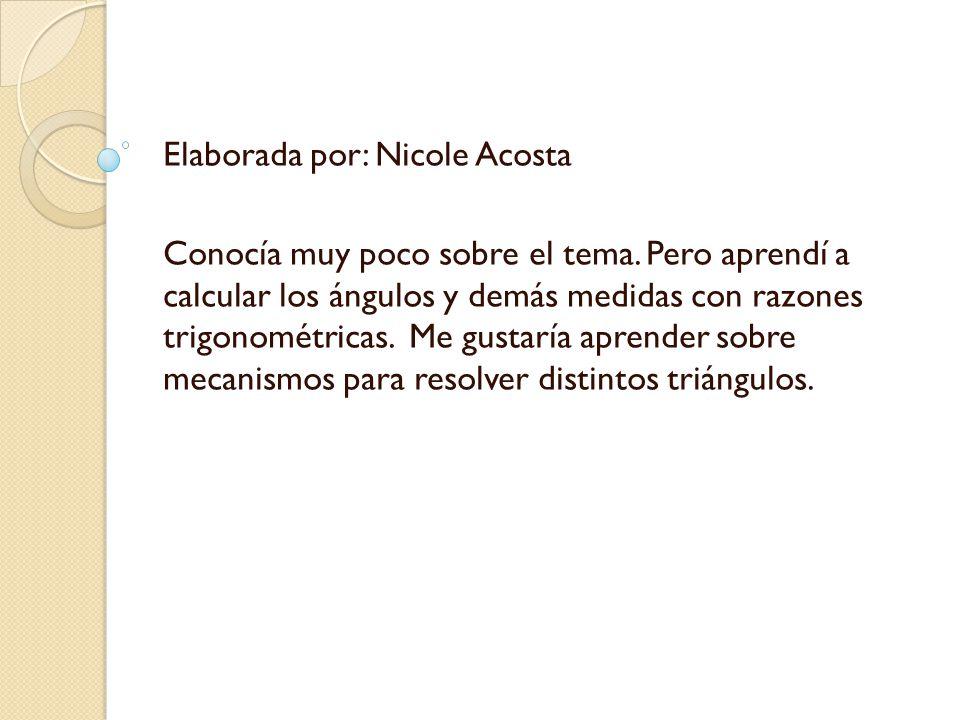 Elaborada por: Nicole Acosta Conocía muy poco sobre el tema.