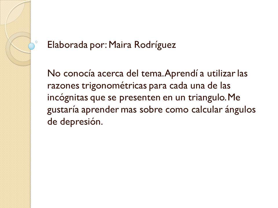 Elaborada por: Maira Rodríguez No conocía acerca del tema.