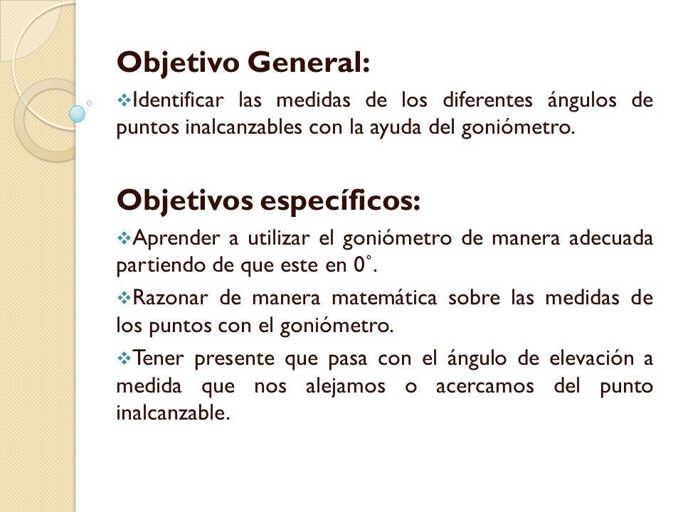 Objetivo General:  Identificar las medidas de los diferentes ángulos de puntos inalcanzables con la ayuda del goniómetro.