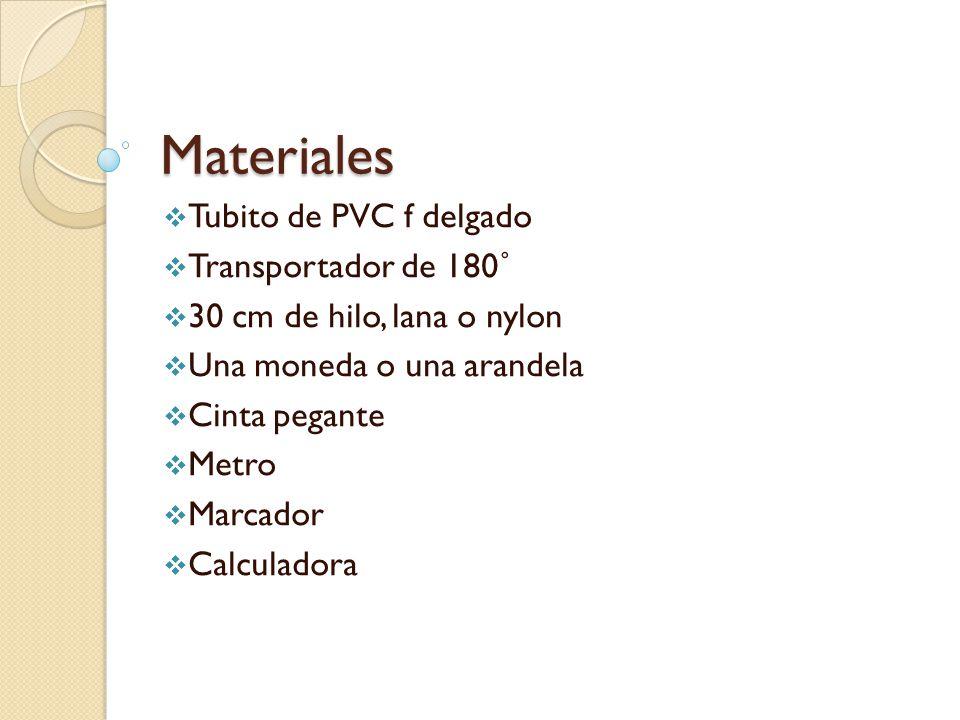 Materiales  Tubito de PVC f delgado  Transportador de 180˚  30 cm de hilo, lana o nylon  Una moneda o una arandela  Cinta pegante  Metro  Marcador  Calculadora