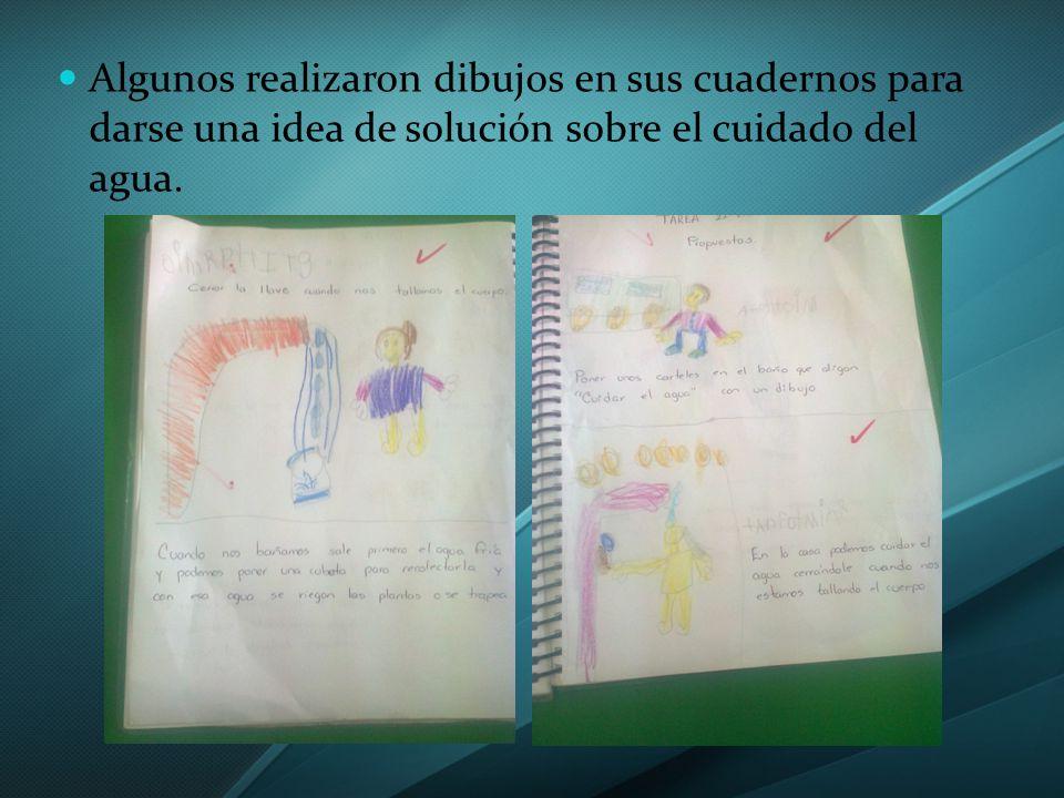 Algunos realizaron dibujos en sus cuadernos para darse una idea de solución sobre el cuidado del agua.