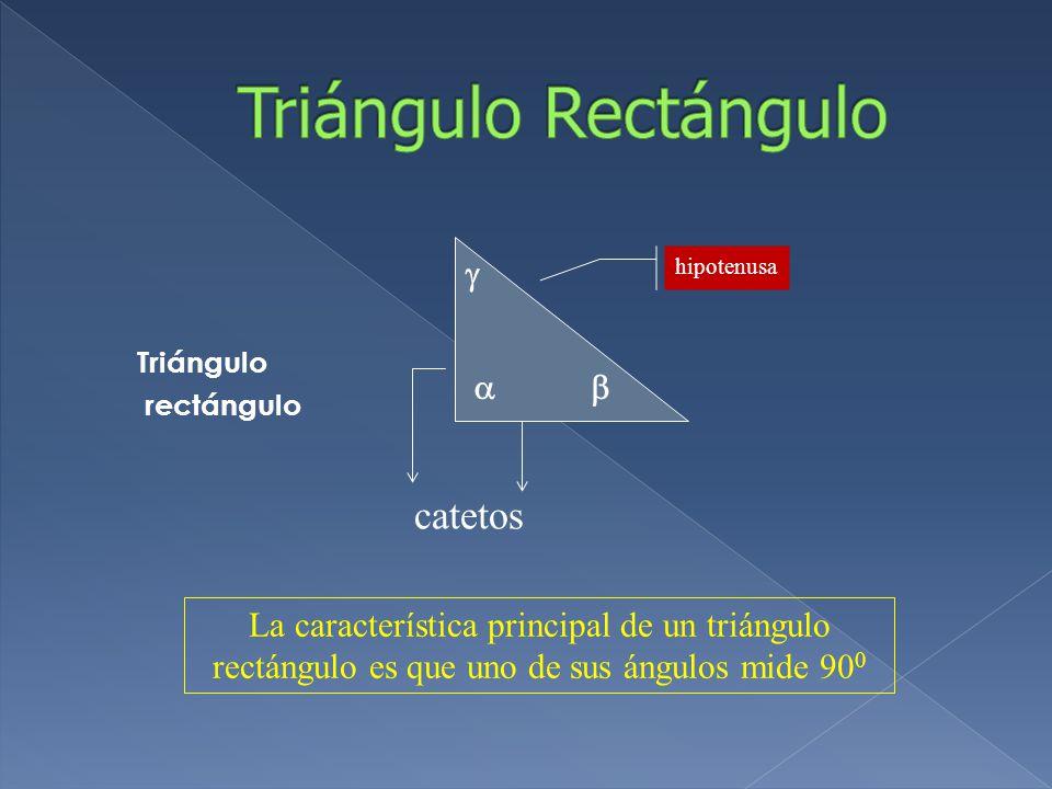 Triángulo rectángulo  hipotenusa   catetos La característica principal de un triángulo rectángulo es que uno de sus ángulos mide 90 0