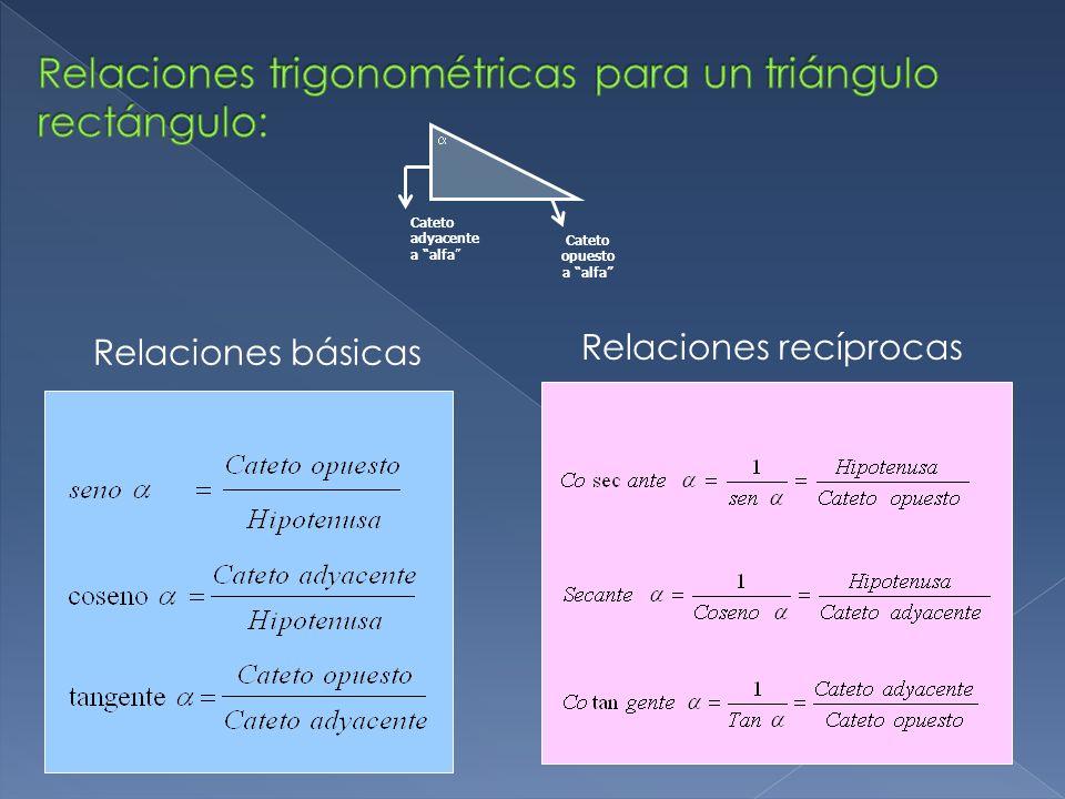 Relaciones básicas Relaciones recíprocas  Cateto adyacente a alfa Cateto opuesto a alfa