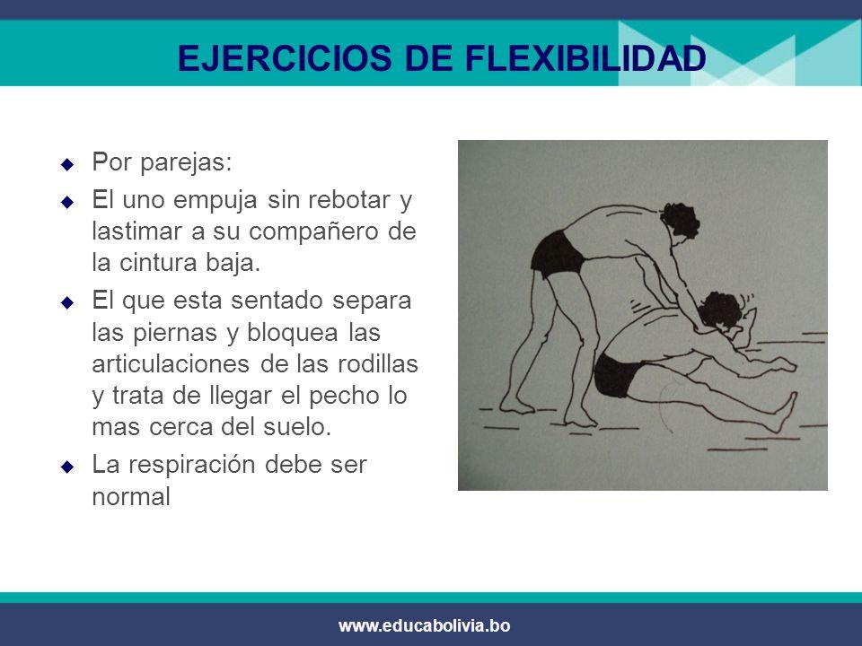 www.educabolivia.bo EJERCICIOS DE FLEXIBILIDAD  Ejercicio que favorece la soltura y flexibilidad de la musculatura del trapecio