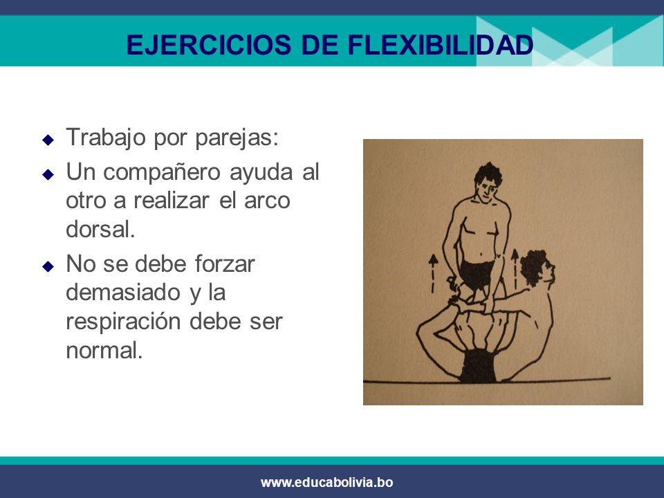 www.educabolivia.bo EJERCICIOS DE FLEXIBILIDAD  Elevar las piernas en la pared y tratar que la cabeza llegue a las rodillas.