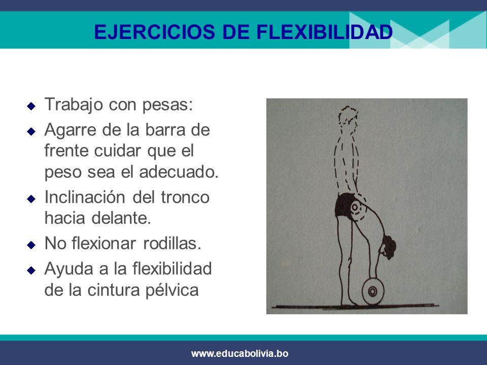 www.educabolivia.bo EJERCICIOS DE FLEXIBILIDAD  Trabajo con pesas:  Rotación del tronco de izquierda a derecha  Bloqueando las articulaciones del tren inferior.
