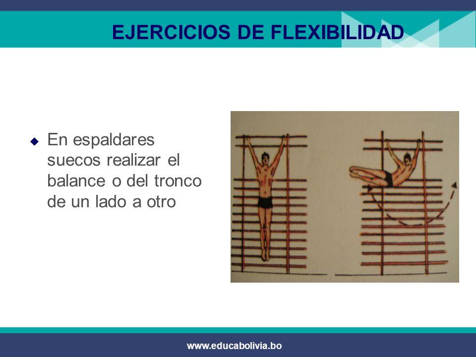 www.educabolivia.bo EJERCICIOS DE FLEXIBILIDAD  Trabajo con pesas:  Agarre de la barra de frente cuidar que el peso sea el adecuado.