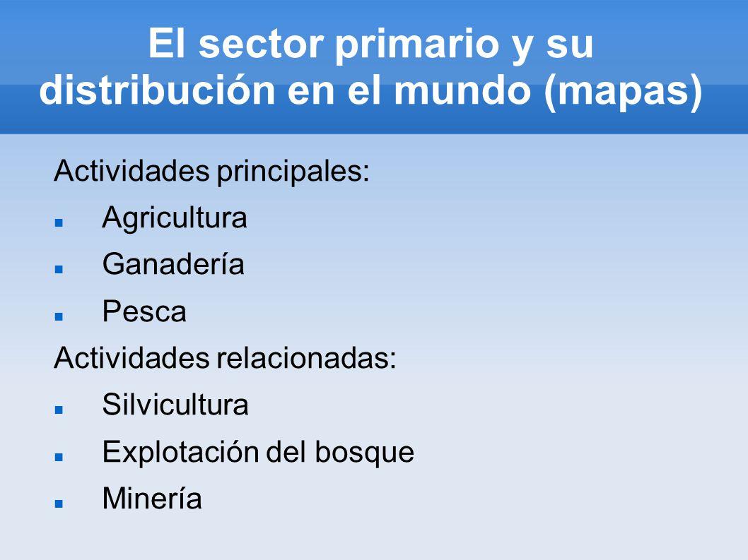 El sector primario y su distribución en el mundo (mapas) Actividades principales: Agricultura Ganadería Pesca Actividades relacionadas: Silvicultura Explotación del bosque Minería