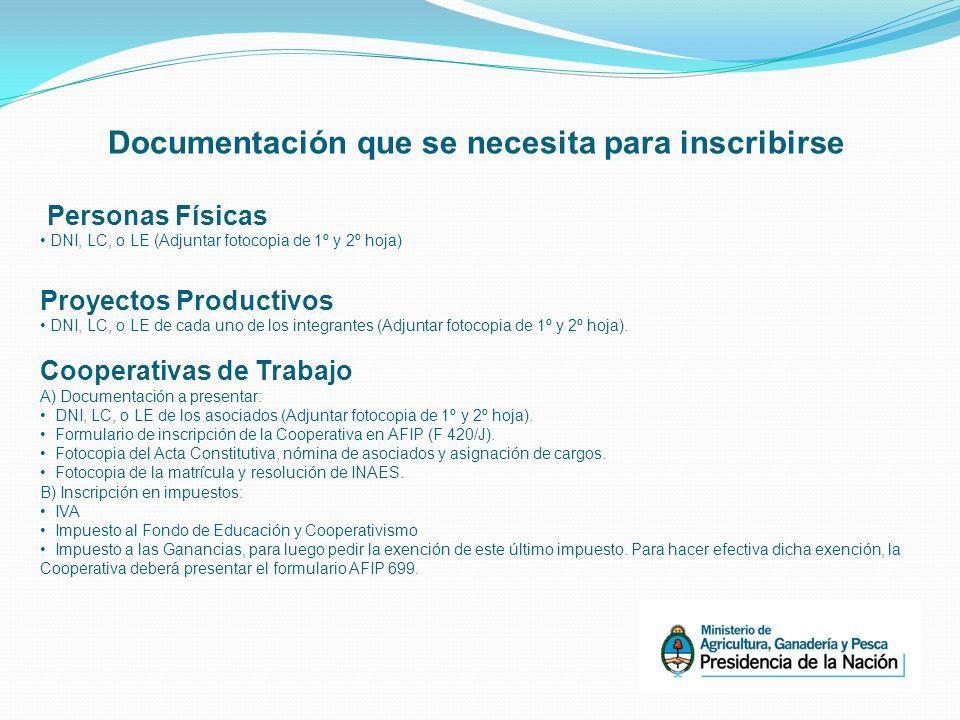 Documentación que se necesita para inscribirse Personas Físicas DNI, LC, o LE (Adjuntar fotocopia de 1º y 2º hoja) Proyectos Productivos DNI, LC, o LE de cada uno de los integrantes (Adjuntar fotocopia de 1º y 2º hoja).