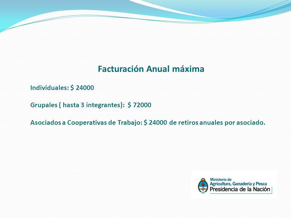 Facturación Anual máxima Individuales: $ 24000 Grupales ( hasta 3 integrantes): $ 72000 Asociados a Cooperativas de Trabajo: $ 24000 de retiros anuales por asociado.