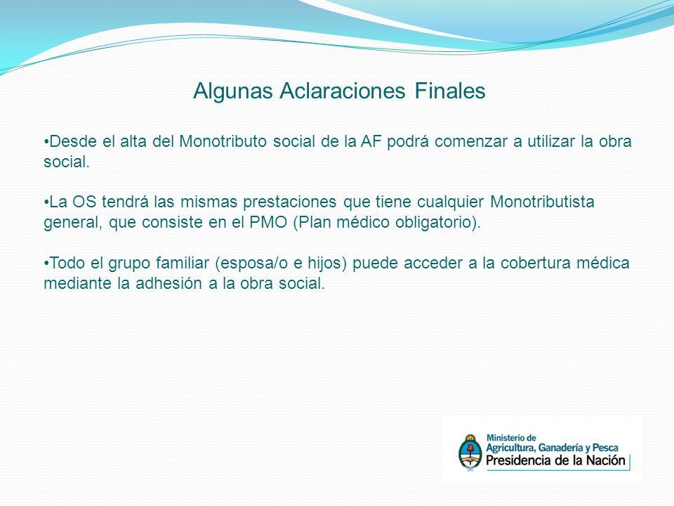 Algunas Aclaraciones Finales Desde el alta del Monotributo social de la AF podrá comenzar a utilizar la obra social.
