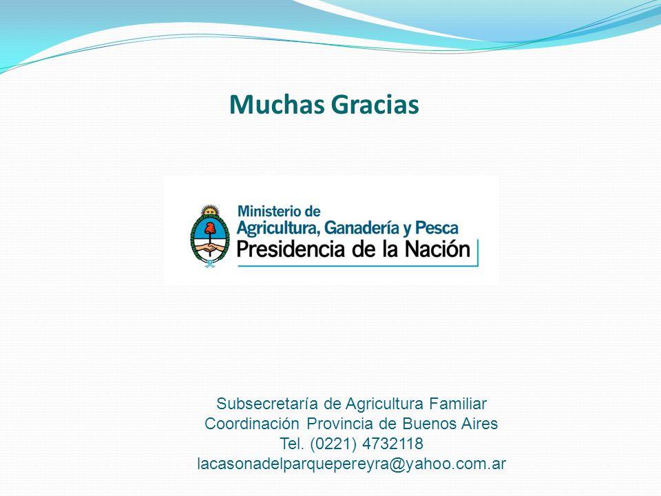 Muchas Gracias Subsecretaría de Agricultura Familiar Coordinación Provincia de Buenos Aires Tel.