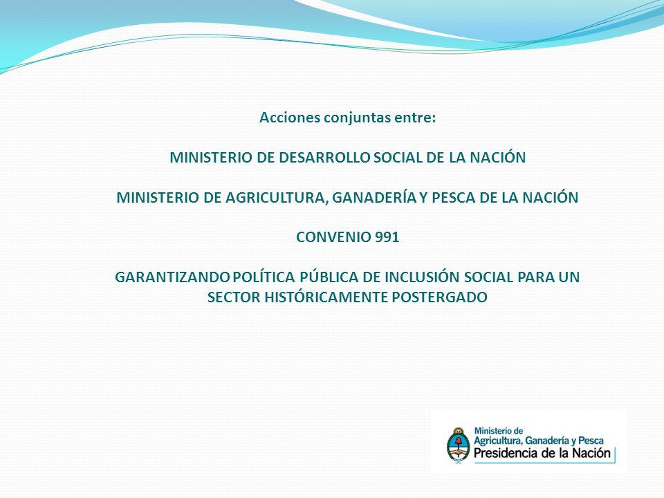 Acciones conjuntas entre: MINISTERIO DE DESARROLLO SOCIAL DE LA NACIÓN MINISTERIO DE AGRICULTURA, GANADERÍA Y PESCA DE LA NACIÓN CONVENIO 991 GARANTIZANDO POLÍTICA PÚBLICA DE INCLUSIÓN SOCIAL PARA UN SECTOR HISTÓRICAMENTE POSTERGADO