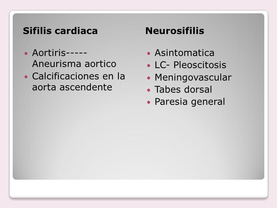 Sifilis cardiacaNeurosifilis Aortiris----- Aneurisma aortico Calcificaciones en la aorta ascendente Asintomatica LC- Pleoscitosis Meningovascular Tabe