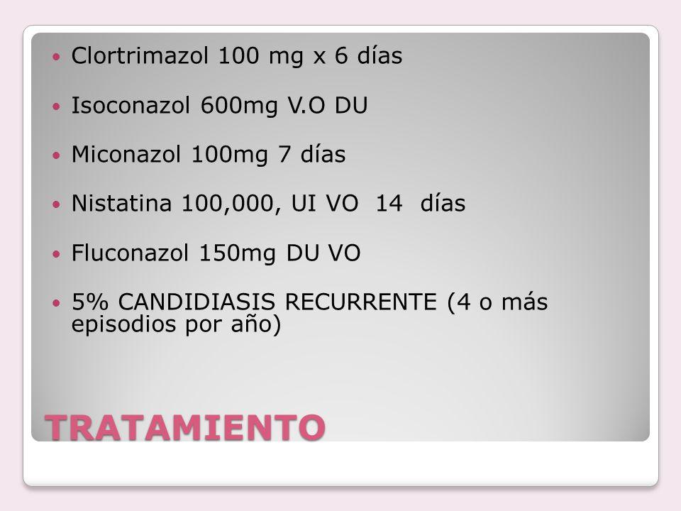 TRATAMIENTO Clortrimazol 100 mg x 6 días Isoconazol 600mg V.O DU Miconazol 100mg 7 días Nistatina 100,000, UI VO 14 días Fluconazol 150mg DU VO 5% CAN