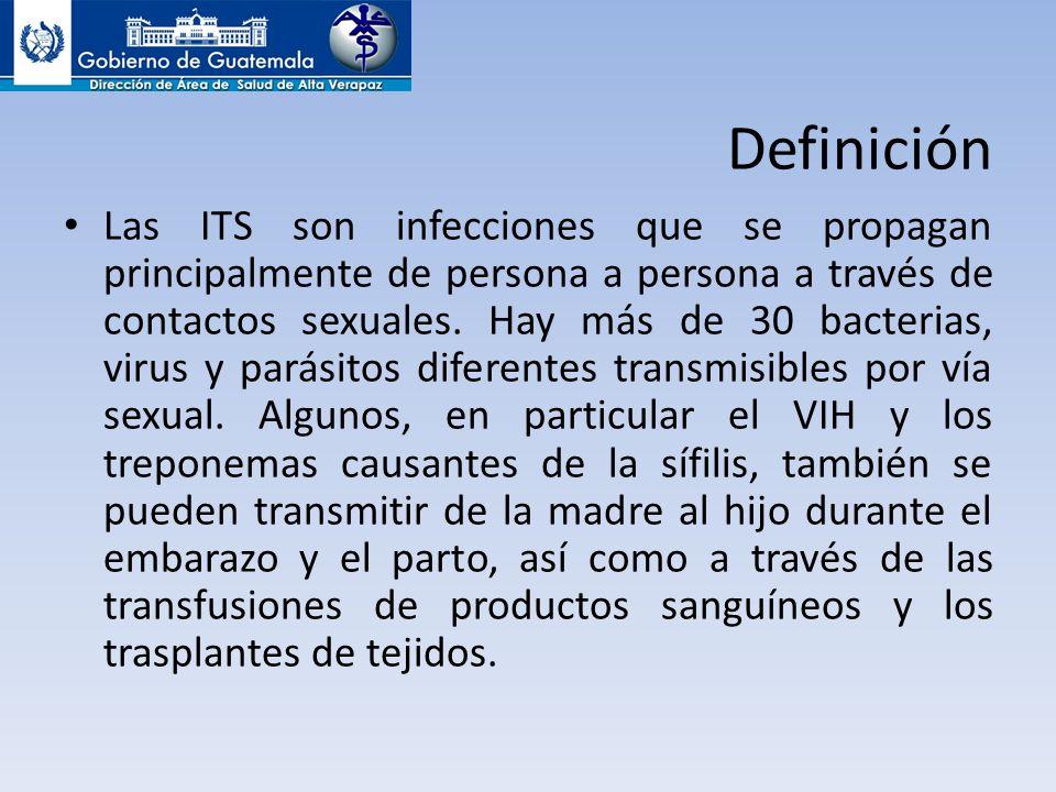 Definición Las ITS son infecciones que se propagan principalmente de persona a persona a través de contactos sexuales. Hay más de 30 bacterias, virus