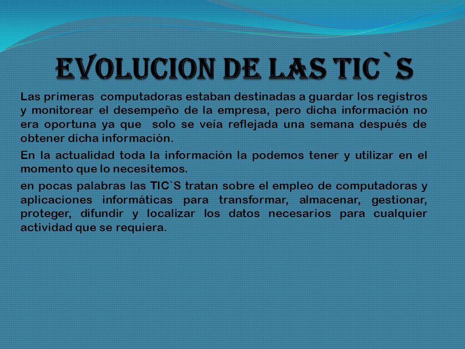 TICs TECNLOGIA DE LA INFORMACION y la comunicacion