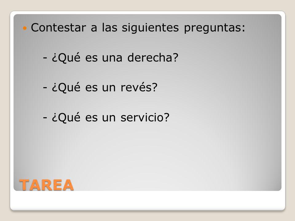 TAREA Contestar a las siguientes preguntas: - ¿Qué es una derecha? - ¿Qué es un revés? - ¿Qué es un servicio?