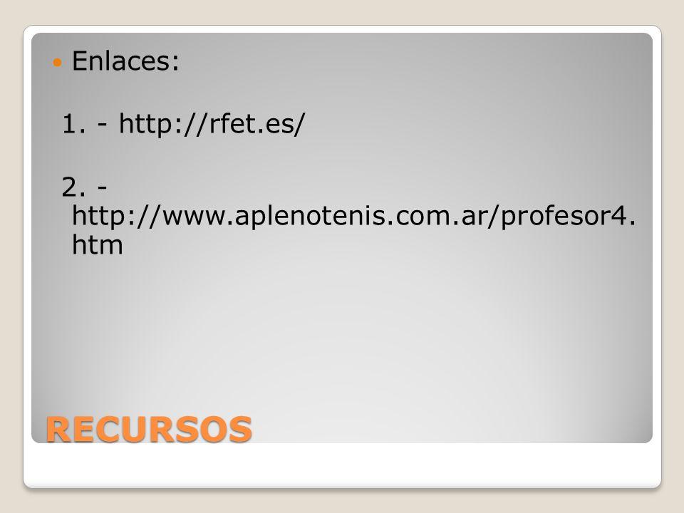 RECURSOS Enlaces: 1. - http://rfet.es/ 2. - http://www.aplenotenis.com.ar/profesor4. htm