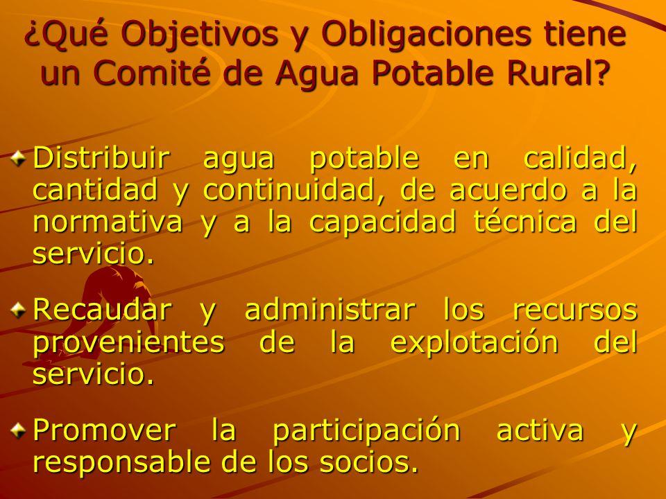 ¿Qué Objetivos y Obligaciones tiene un Comité de Agua Potable Rural? Distribuir agua potable en calidad, cantidad y continuidad, de acuerdo a la norma