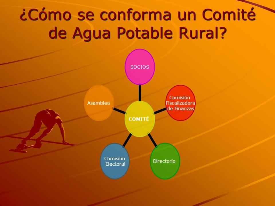 ¿Cómo se conforma un Comité de Agua Potable Rural? COMITÉ SOCIOS Comisión Fiscalizadora de Finanzas Directorio Comisión Electoral Asamblea