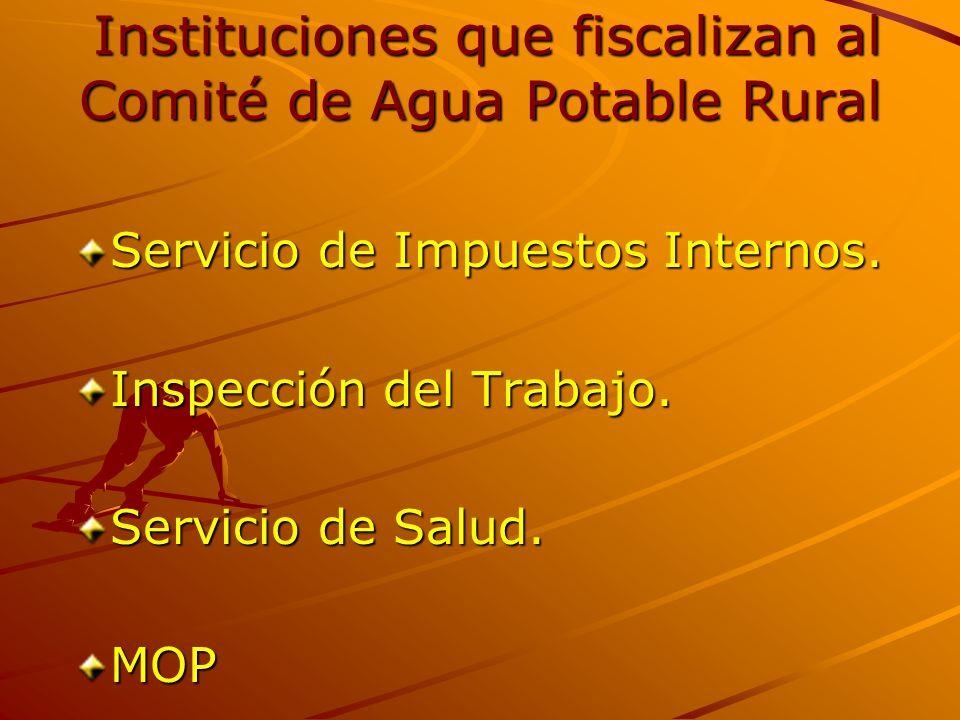 Instituciones que fiscalizan al Comité de Agua Potable Rural Instituciones que fiscalizan al Comité de Agua Potable Rural Servicio de Impuestos Internos.