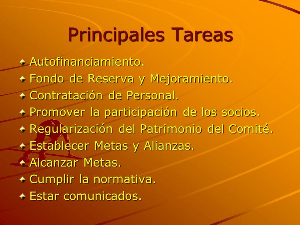 Principales Tareas Autofinanciamiento. Fondo de Reserva y Mejoramiento.